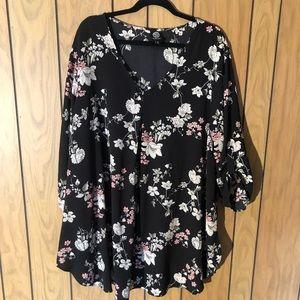 Bobeau - Black Floral Dress